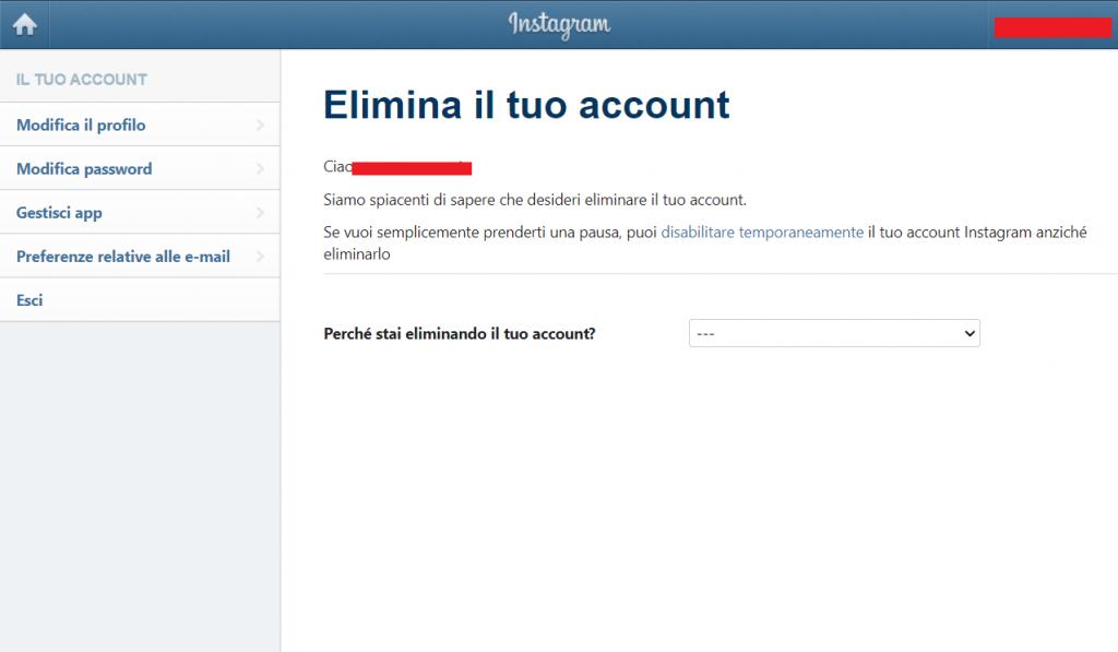 Instagram come eliminare il proprio account