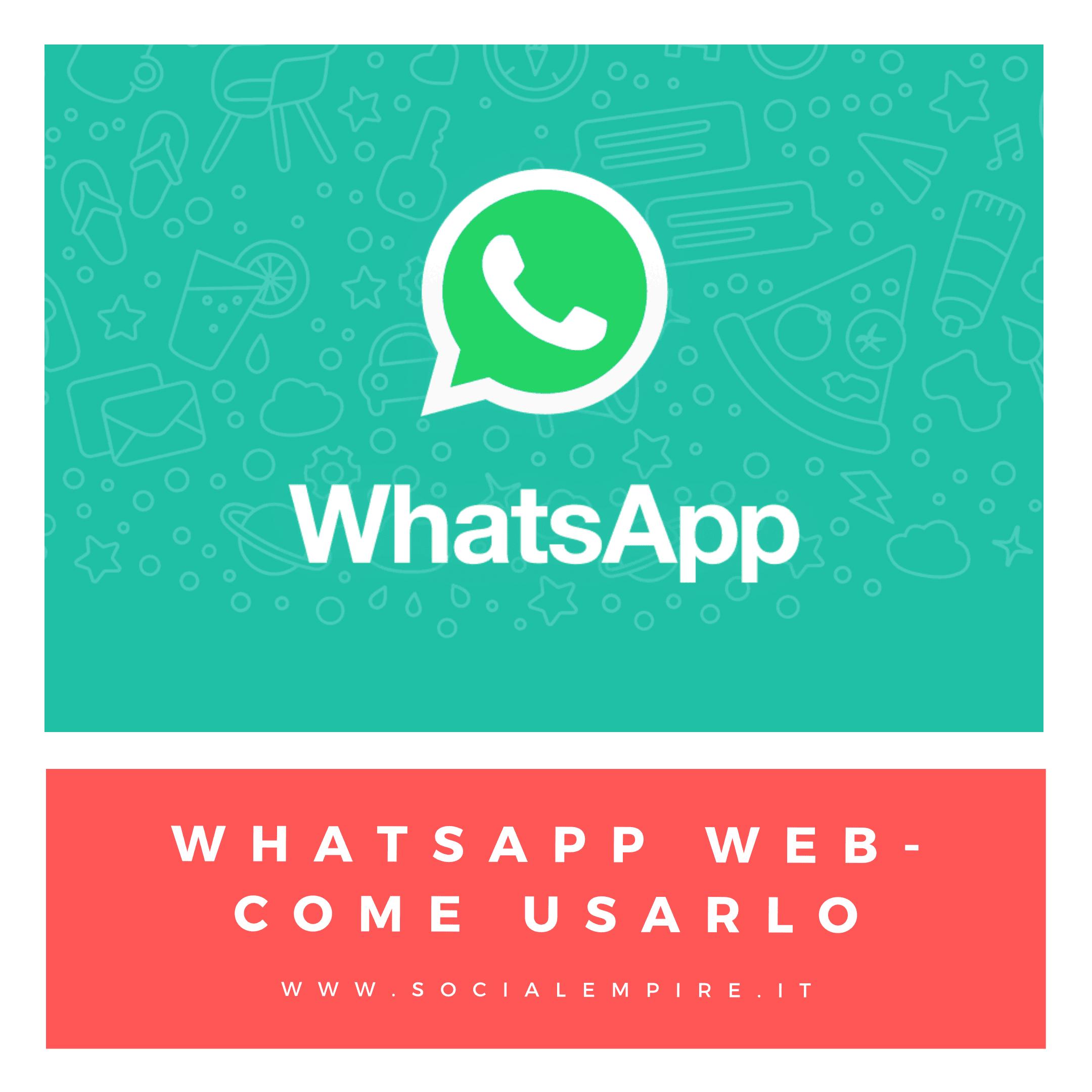 whatsapp web come usarlo